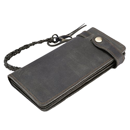 Itslife Men's RFID BLOCKING Brown Bifold Vintage Long Style Hand Made Leather Chain Wallet(Gray) - Mens Wallet Checkbook Leather