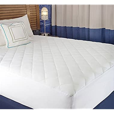 White Cotton-Poly Hypoallergenic Comfortable Soft - Queen Size Quilted Fitted Mattress Pad Cover 60  x 80  - Up To 20  Deep