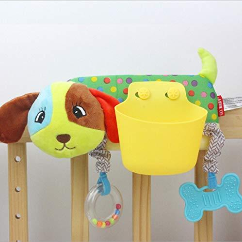 Flurries  Cartoon Animal Plush Toy Nursery Organizer - Baby Stroller Storage Pocket - Bedside Storage Caddy - Crib Bed Snap Hanging Bag with Velcro Magic Tape (Puppy)
