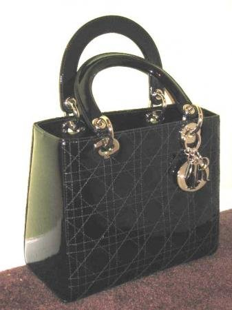 Christian Dior Black Lady Dior Cannage Patent Leather Medium Tote (Christian Dior Patent Leather)