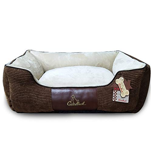 YU Dog Bed Detachable Washable Mattress Soft Flannel Cushion Warm Luxury Pet Basket,002,L