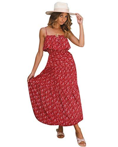 LANISEN Womens Summer Casual Floral Print Spaghetti Strap Front Split Beach Long Maxi Dress