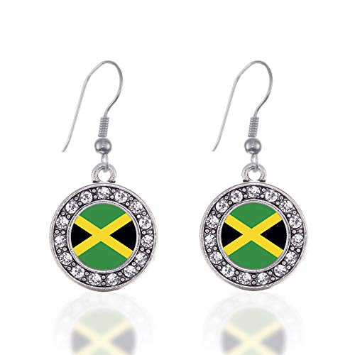 (Inspired Silver - Jamaican Flag Charm Earrings for Women - Silver Circle Charm French Hook Drop Earrings with Cubic Zirconia Jewelry)