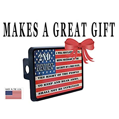 Rogue River Tactical USA American Flag 2nd Second Pro Gun Amendment Trailer Hitch Cover Plug US: Automotive