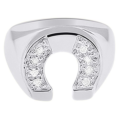 Horseshoe Diamond Ring Ladies (Diamond Horseshoe Ring Good Luck - Sterling Silver or Yellow Gold Plated)
