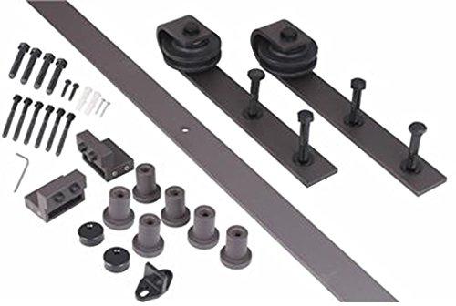 8ft Country Steel Sliding Barn Door Hardware Rail Kit for Wooden Wall Dark Coffee TKT-11 (Patio Vancouver Door Repair)