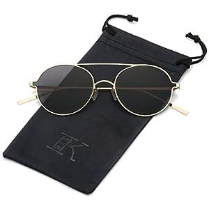LKEYE Ultra-Light-Thin Sunglasses Unisex Round Style Small Memory Metal Frame LK1711 Gold Frame Gray Lens