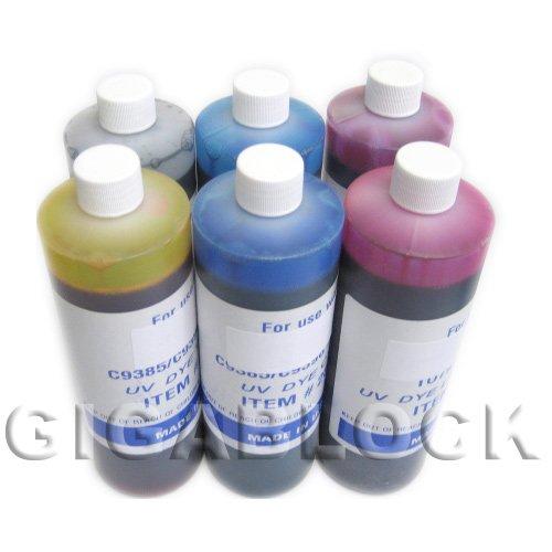 Gigablock UV Dye Based 6 Bulk Pint(470ml x 6 Bottles) Inks of Refill Ink Set for CIS System Epson R200 R220 R300 R320 R300M RX500 RX600 RX620 Inkjet Printer - Made in USA