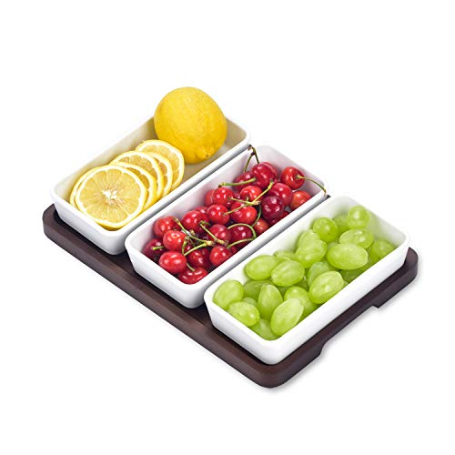 Creamic Snack Serving Tray 3 Pieces Long Strip Ceramic Bowls and A Brown Trays, Movable Moisture-Proof Food Bowls, Can…