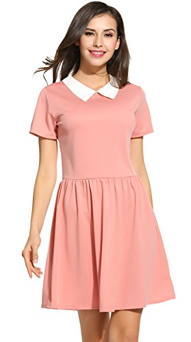 Womens-Casual-Short-Sleeve-Doll-Collar-Dress-Peter-Pan-Collar-Work-Office-Dress