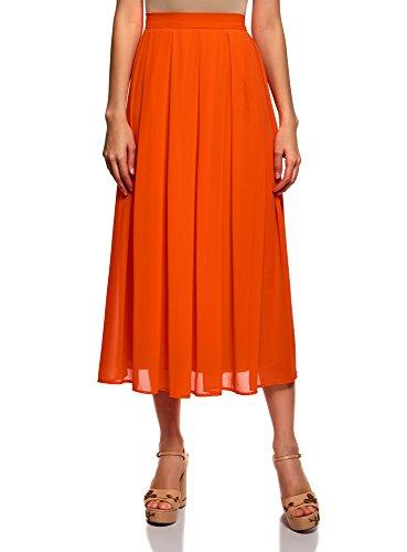 oodji Collection Femme Jupe Mi-Longue Fluide Plis Doux Orange (5500n)