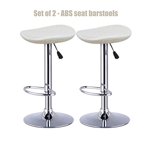 Modern Style High-Gloss ABS Seat Bar stool Adjustable Height 360 Degree Swivel Seat Stable Footrest Durable Premium Chrome Frame Office Pub Chair New White - Set of 2 - Outlets Phoenix Premium
