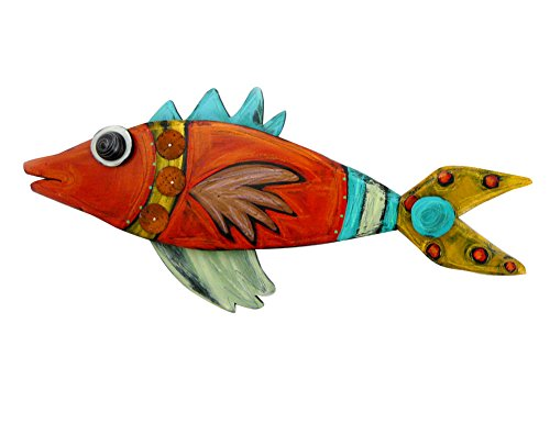(American Made Hand-Painted Carved Wood Whimsical Fish Wall Sculpture, 17