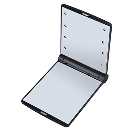 eshion Travel makeup mirror with 8 dimmable Led Lights, 2-Folder (Black)