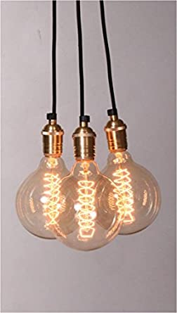 Black fabric cord 3 edison style globe bulb pendulum for Pendulum light globes