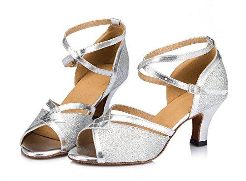 TDA - Zapatos de tacón  mujer 6cm Heel Glitter Silver