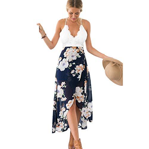UPhitnis Women's Deep V Neck Sleeveless Summer Floral Maxi Dress Casual A-Line Backless Swing Dress ()