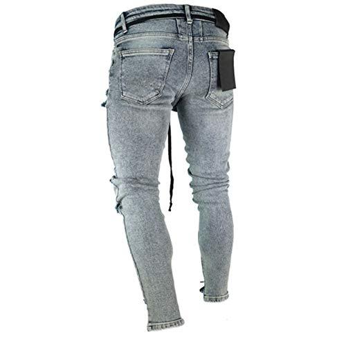 Hombres Pantalón Pantalones Personalidad Pitillo 1897 Agujero Vaqueros Jeans Elasticos Suncaya fYEgvFUf