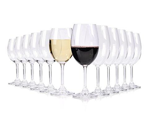 Bluespoon Weingläser Set aus Glas 12 teilig   6 Rotweingläser ca. 580 ml   6 Weißweingläser ca. 430 ml   Das perfekte Set für Weinliebhaber