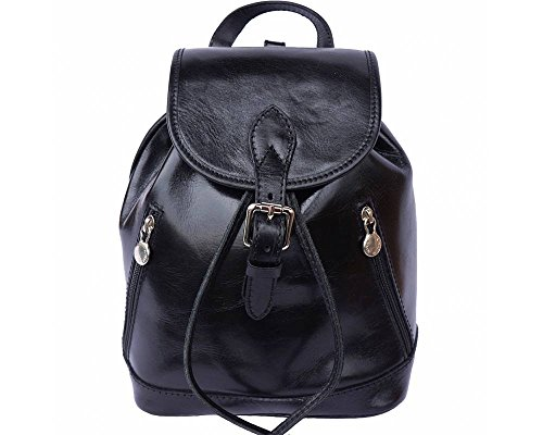 LaGaksta Italian Leather Backpack Purse and Shoulder Bag Medium Black by LaGaksta