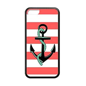 Red and White Stripes with Anchor and Rope Personality luxury cover case for Iphone 5C(Black)By @ALL