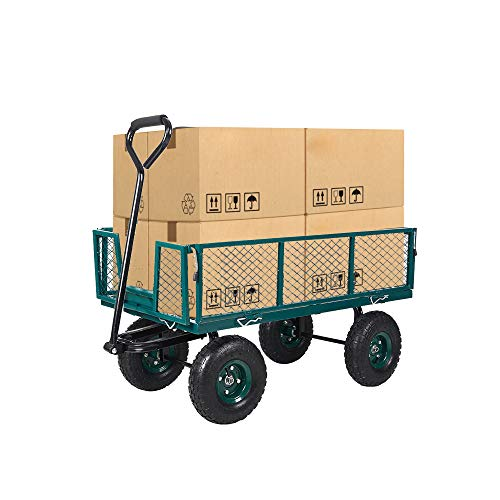(Dporticus Four-Wheel Trailer Large Folding Wagon Side Cart 560lbs Load Capacity, Handling Truck Pull for Outdoor Garden Warehouse)