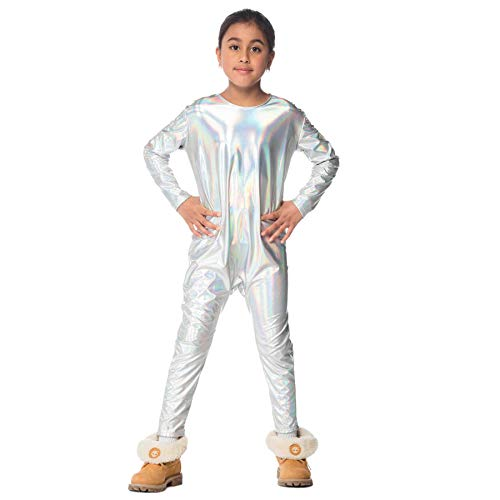 Largemouth Girl's Unicorn Iridescent Silver Rainbow Halloween Costume DIY Jumpsuit -