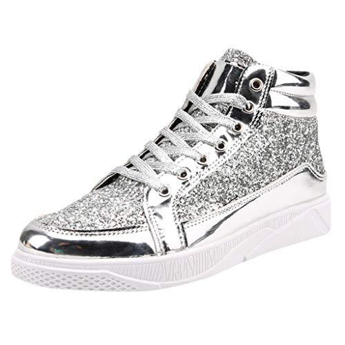 Haforever Men's Designer Lace-Up Sneaker Sequin High-top Sneakers Bling Sequins Casual Shoes