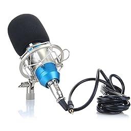 Floureon BM-800 Condenser Studio Recording Microphone and Shock Mount Holder Blue