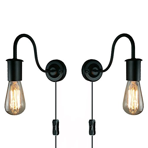 STGLIGHTING 2-Pack Minimalist Single Socket Vintage Industrial Loft Style 1-Light Wall Sconce E26 UL Certification Plug-In Button Switch Cord Lighting Black Bulb Included (Copper Sconce Ul)
