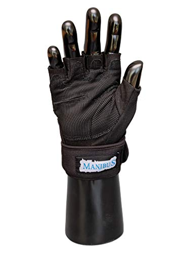 MANIBUS Premium Half Finger Gym Gloves with Wrist Support for Men & Women, Extra Grip Gloves Anti-Slip & Full Protection - Reduces Callus & Blisters - Great for All Fitness and Workout Activities (L)
