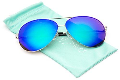 WearMe Pro - Oversized Premium Full Mirrored Aviator Sunglasses w/ Flash Mirror - Colored Aviator Sunglasses