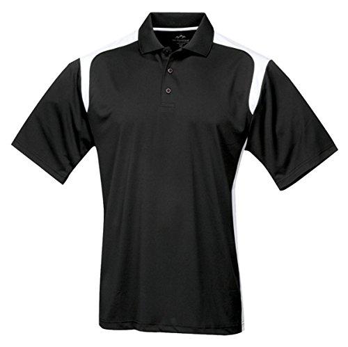Tri-mountain Mens 100% Polyester UC Knit Polo Shirt. 145TM - BLACK / WHITE_6XL
