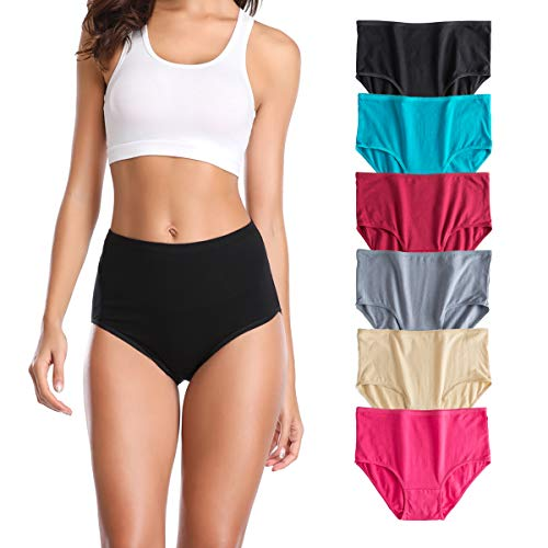 U Angela Women's Cotton Underwear High Waist Panties Plus Size Briefs Panty -6 Pack (L, 6 Pack)