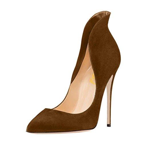 Fsj Mujeres Sexy Prom Pumps Pointy Toe Zapatos De Tacón Alto Zapatos De Tacón De Aguja Talla 4-15 Us Brown