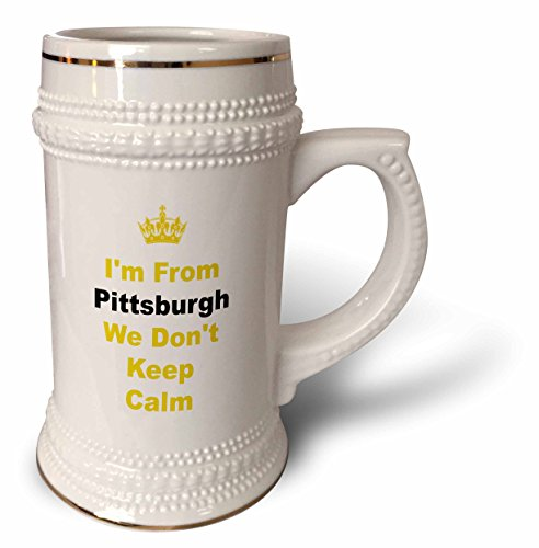(Xander Keep Calm quotes - dont keep calm, Pittsburgh, yellow and black letters on white background - 22oz Stein Mug (stn_180044_1))