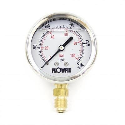 63mm Glycerine Filled Hydraulic pressure gauge 0-1500 PSI (100 BAR) 1/4' bsp bottom entry Flowfit
