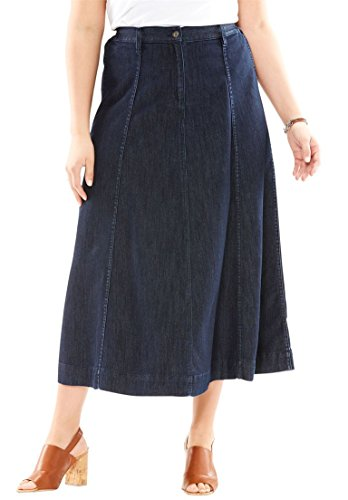 78ae2442ba Roamans Women's Plus Size A-Line Denim Skirt Black Blue Denim,32 W