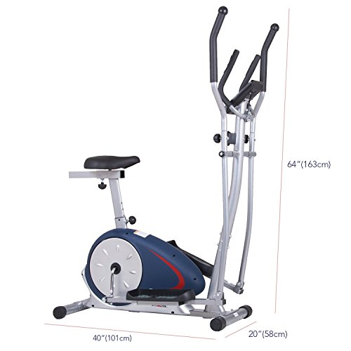 Body Champ BRM2788 Dual Trainer Elliptical Trainer and Exercise Bike with Seat and Heart Rate Pulse Sensors by
