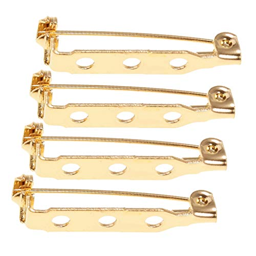 Gold Brooch Findings - SM SunniMix 100/50/30pcs Metal Double/Three Holes Craft Pin Back Clasp Brooch Safety Pins Bar Pins Findings - Type6, as described