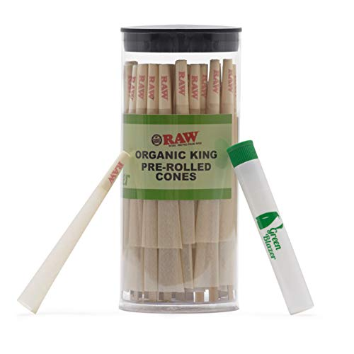 Raw Pre-Rolled Cones Organic King: 100 Pack - Hemp Rolling Papers with Filters - Extra Clean and Slow Burning Cone Made of Pure Hemp - Bonus Doob Tube Included