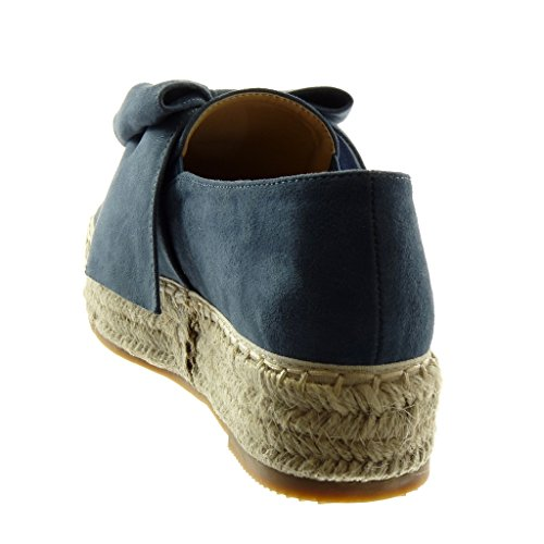 Angkorly Women's Fashion Shoes Espadrilles - Slip-on - Platform - Cord - Braided - Knot - Node Wedge Platform 4 cm Blue bciiMyHD