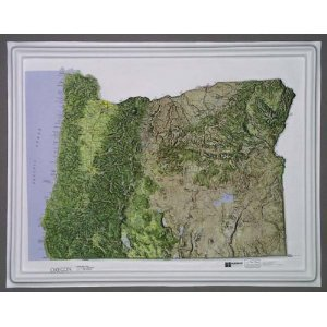 OREGON Raised Relief Map NCR Style with BLACK Plastic Frame
