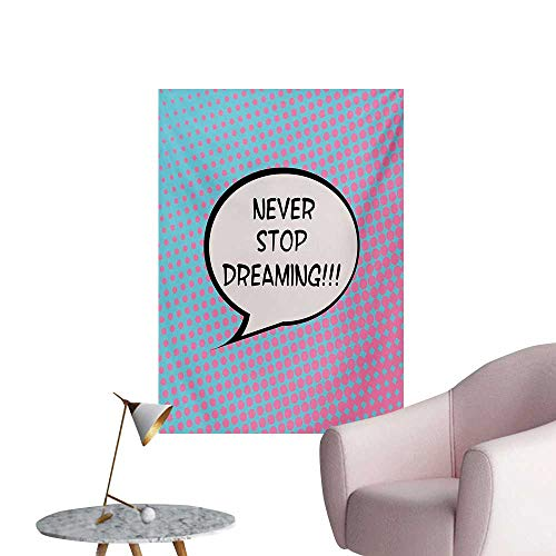 Anzhutwelve Quote Photographic Wallpaper Retro Never Stop Dreaming Pop Art Thinking Bubble Ombre Digital Polka Dots MotivationBlue Pink W24 xL36 Space Poster