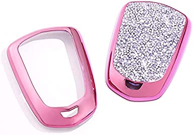 4 5 6 Buttons 3D Bling keyless Entry Remote Smart Key Fob case Cover for 2016 2017 2018 2019 2020 Cadillac CT6 XT5 CTS XTS SRX ATS DTS STS Accessories Royalfox Pink TM