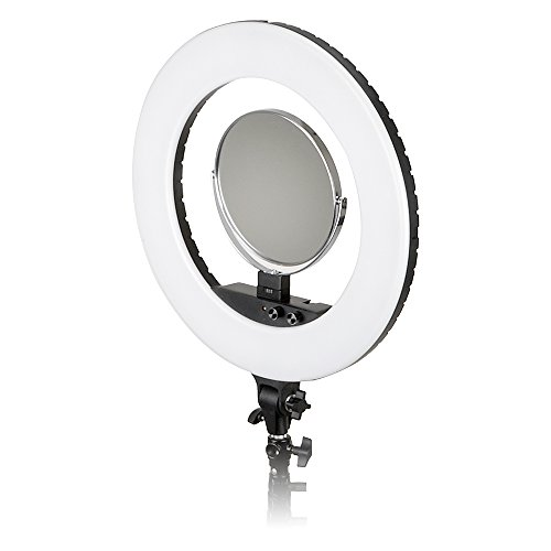 Fotodiox Vlog-LED-Ring-Pro-Blk Selfie Starlite Bi-Color Dimmable LED Ring Light for Portrait, Photography, Makeup, YouTube, Vine Video & more, Includes Light, Phone Clamp, Vanity Mirror, 18'', Black by Fotodiox