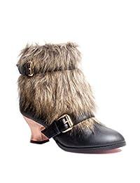 HADES Steampunk Victorian Ankle Boot Bronze Heel Faux Fur inner zp ELENA Black-10