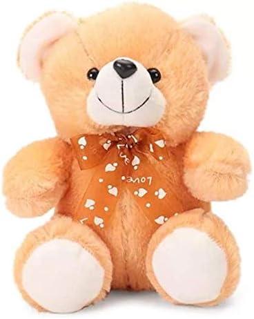 Frantic Premium Quality Soft Huggable Teddy Bear Plush Stuffed Toy with Neck Bow (Brown ,32 cm)