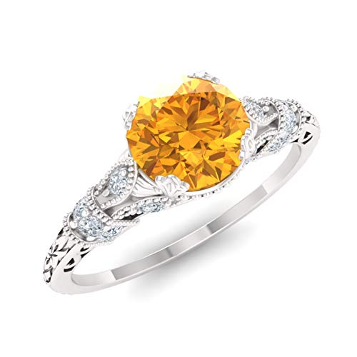 - Diamondere Natural and Certified Citrine and Diamond Engagement Ring in 14K White Gold | 1.11 Carat Art Deco Engagement Ring for Women, US Size 7