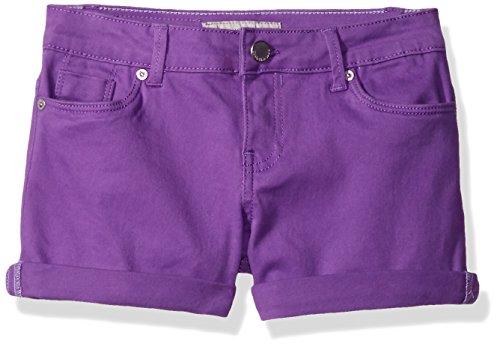 Calvin Klein Toddler Girls' Color Roll-up Denim Short, Purple, (Purple Girls Shorts)